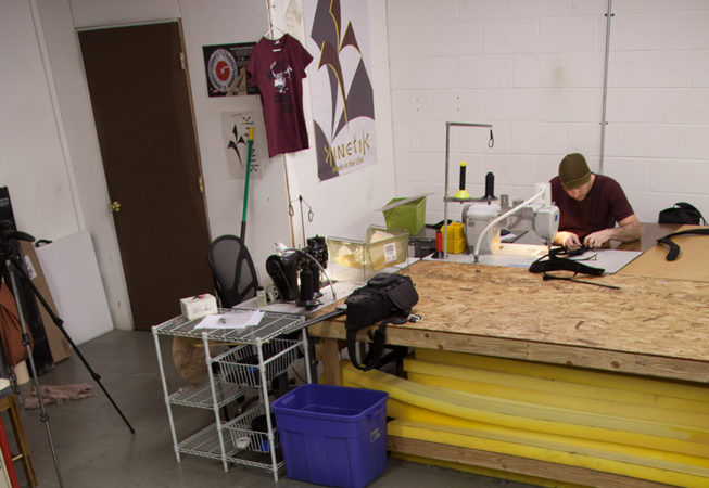Kinetik Climbing Founder working on the Newton Crash Pad